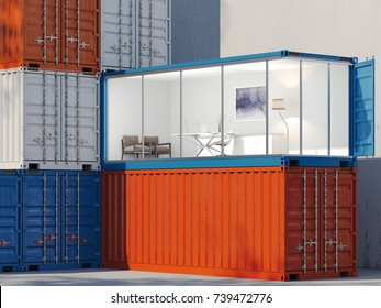 Freight containers in the port. One container is converted into an office. 3d rendering