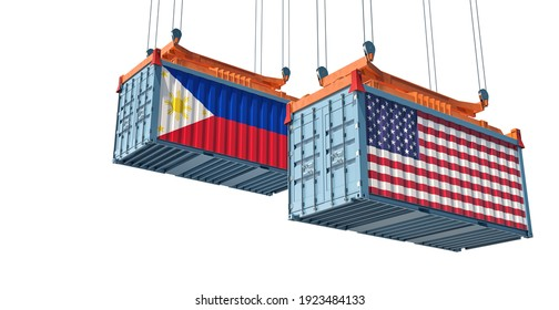 Freight containers with USA and Philippines flag. 3D Rendering