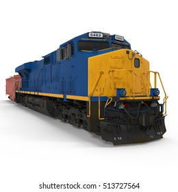 Freight train with hopper car on white. 3D illustration