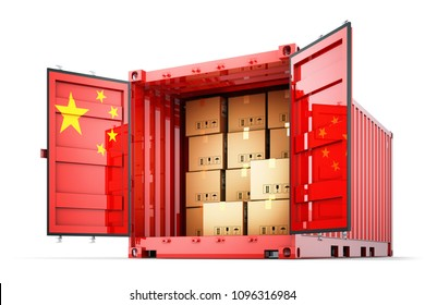 Freight transportation from China, shipment and shipping concept, open cargo container with Chinese flag full of cardboard boxes isolated on white background, 3d illustration
