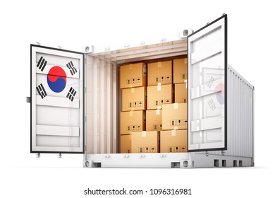 Freight transportation from South Korea, shipment and shipping concept, open cargo container with South Korean flag full of cardboard boxes isolated on white background, 3d illustration
