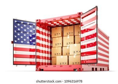 Freight transportation from USA, shipment and shipping concept, open cargo container with American flag full of cardboard boxes isolated on white background, 3d illustration
