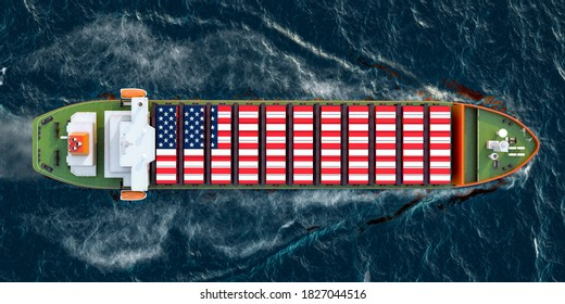 Freighter ship with the United States cargo containers sailing in ocean, 3D rendering
