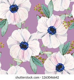 French anemone watercolor illustration pattern