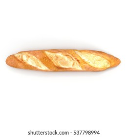 French baguette. Isolated on white. Top view. 3D illustration