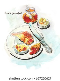 French breakfast with croissant