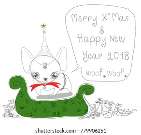 French Bulldog in merry x' mas & happy new year 2018 greeting card.