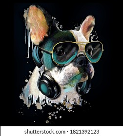 French bulldog watercolor portrait with a headphones.Dog listening to music.Graphic design for t shirt.