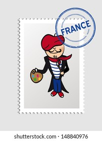 French cartoon painter man with travel France postal stamp.