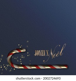 French Christmas card. Text Merry Christmas in French language Joyeux Noel. Xmas card template. Xmas symbol candy cane, golden confetti on dark blue. Luxury design holiday card, poster. 3D render
