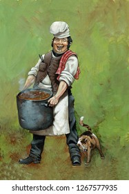 French cook with cat. Napoleonic Wars. Acrylic illustration.