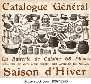 French Cookware poster  - vintage engraved illustration - Catalog of a French department store - Paris 1909