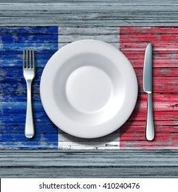 French cuisine food concept as a place setting with knife and fork on an old rustic wood table with an icon flag of France as an icon of traditional eating in Paris with 3D illustration elements.