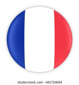 French Flag Button - Flag of France Badge 3D Illustration