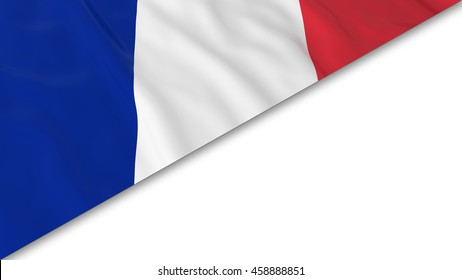 French Flag corner overlaid on White background - 3D Illustration