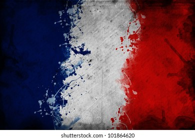 French flag. Flag of France, image is overlaying a grungy texture.