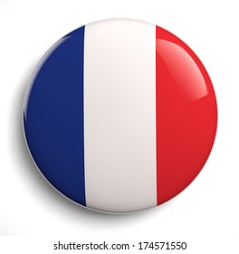 French flag icon on white. Clipping path included.
