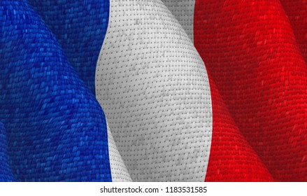 French flag with a textile pattern