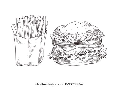 French fries and hamburger raster illustration, graphic art of fast food, big american burger with fresh lettuce, sliced tomatoes and onions, cheese