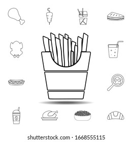 French fries icon. Simple thin line, outline element of Fast food icons set for UI and UX, website or mobile application on white background
