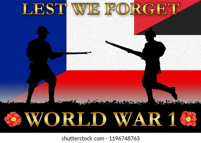French and German flags on a World War 1 banner. War scene with circa 1915 soldier uniform silhouettes. Original digital illustration.