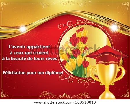 french graduation greeting card congratulations on your graduations print colors used