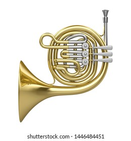 French Horn Isolated. 3D rendering