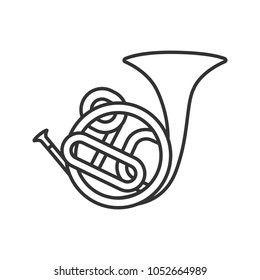 French horn linear icon. Thin line illustration. Contour symbol. Raster isolated outline drawing