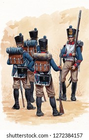 French Line infantry illustration. Napoleonic wars illustration.