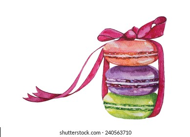 French macaron cookies watercolor painting. Watercolor illustration.