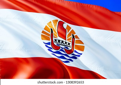 French Polynesia flag. 3D Waving flag design. The national symbol of French Polynesia, 3D rendering. National colors and National flag of French Polynesia for a background. Oceania sign on silk