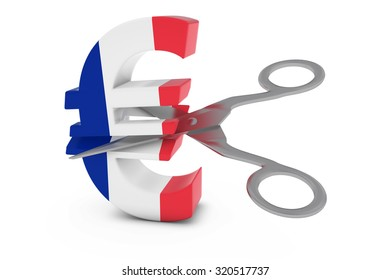 French Price Cuts / Deflation Concept Image - Euro Symbol Textured with the Flag of France being Cut in Half by Scissors