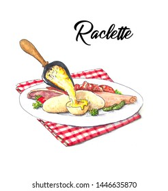French raclette hand drawn illustration