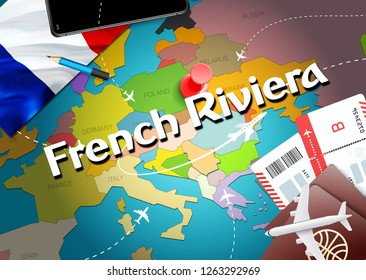 French Riviera city travel and tourism destination concept. France flag and French Riviera city on map. France travel concept map background. Tickets Planes and flights to French Riviera holidays