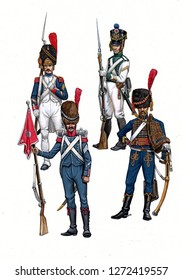 French Sergeants illustration, 1804 - 1812. Napoleonic wars illustration.