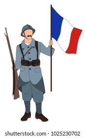 French soldier 1914 1918 isolated on a white background