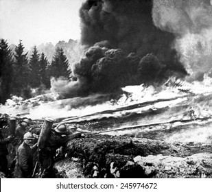 French soldiers using liquid fire in front line trenches. WWI flame throwers were first used by the Germans in Verdun in 1915.
