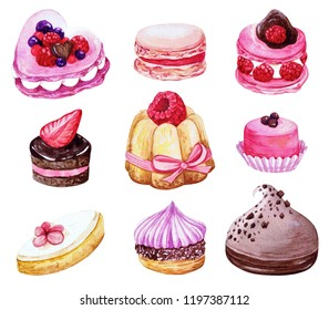french sweets set, meringue, petitsfours, calisson, macaron, watercolor illustration isolated on white background