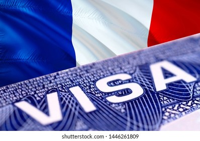 French visa document close up, 3D rendering. Passport visa on French flag. French visitor visa in passport. French multi entrance visa in passport. Close up of a document and passport