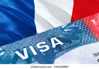 French Visa Document, with French flag in background, 3D rendering. French flag with Close up text VISA on USA visa stamp in passport.Visa passport stamp travel French business