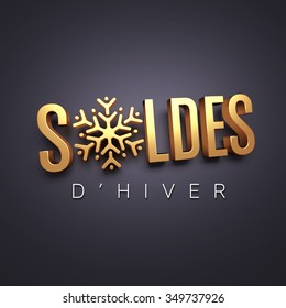 French word for winter sale in gold lettering with a snowflake as seasonal symbol