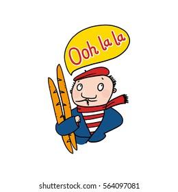 Frenchman saying Ooh La La illustration; Man Holding Baguettes Drawing