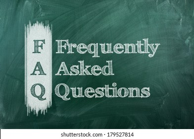 frequently asked question (FAQ) concept for website service on chalkboard