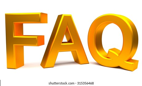 Frequently asked questions 3D golden concept text. Rendered illustration.