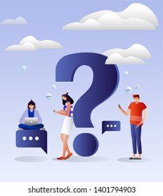 Frequently asked questions concept. People around question marks. Question answer, support, FAQ, chat, help. Illustration with Characters design.