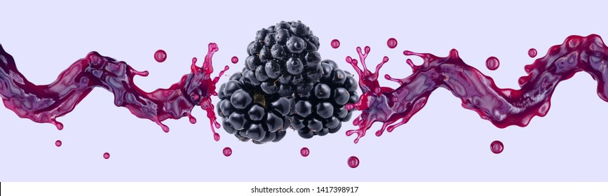 Fresh blackberry juice, smoothie or jam splash 3D swirls with juicy blackberries. Tasty berry juice splashing, blackberry juice isolated. Liquid healthy food or detox drink fruit design. Clipping path
