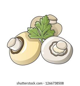 Fresh champignons icon. Cartoon of fresh champignons icon for web design isolated on white background