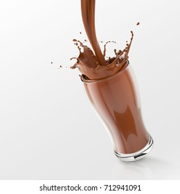 Fresh chocolate Splash in the glass,pouring cocoa splash isolated on white background with clipping path,3d rendering.