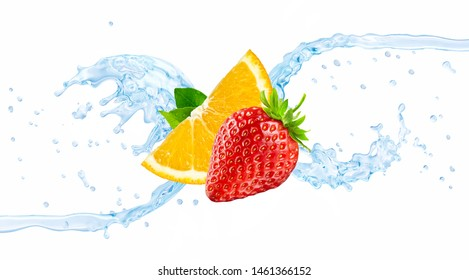 Fresh cold flavored water with orange, strawberry, wave 3D splash isolated on white background. Clear pure infused water wave splash with citrus fruit, strawberry. Healthy flavored drink splash design