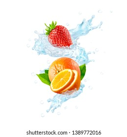 Fresh cold pure flavored water with orange, strawberry, orange slices wave splash. Clean infused water wave splash with citrus fruit, strawberry. Healthy flavored detox drink splash. Clipping path. 3D